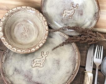 Wild Buck Dinnerware Set ~ Dinner Plate Salad Plate Bowl ~ Deer Stag ~ Hunting Cabin ~ Rustic Handmade Vermont Pottery ~ & Rustic dinnerware | Etsy