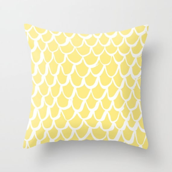 Buttercup Yellow and White Mermaid Throw Pillow . Yellow Pillow . Yellow Cushion . Mermaid Pillow . Lumbar Pillow . Cushion 14 16 18 20 inch