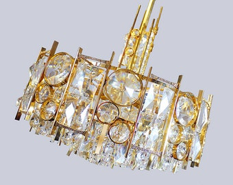 Palwa CHANDELIER Gold Plated HOLLYWOOD REGENCY Crystal Lamp Germany 1960s