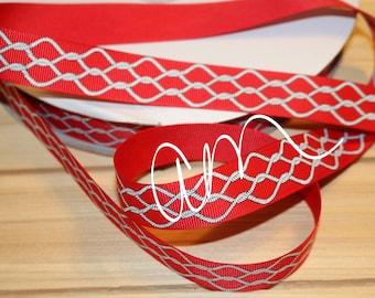 "7/8"" grosgrain ribbon, 3 yards, Red Nautical Rope, USDR"