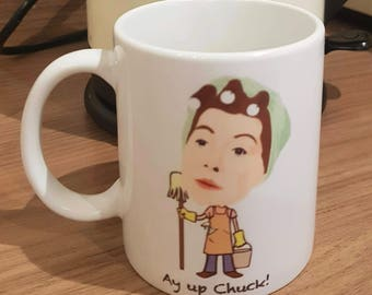 Classic Corrie inspired mug featuring Hilda and Stan Ogden