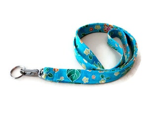 Key Lanyard, ID Badge and Key Holder, Tropical Print Fabric, Birthday Gift For Women