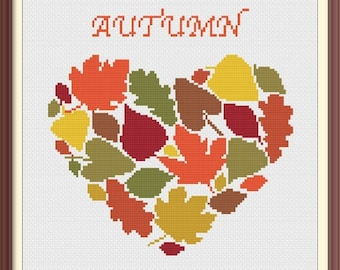 Heart Autumn Leaves Modern Cross Stitch Pattern PDF Chart Instant Download