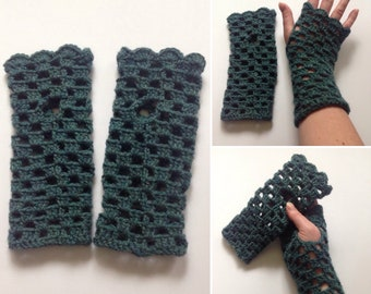 Teal Wool Crochet Fingerless Gloves