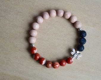 Red Jasper Bracelet / bee jewelry gift, grounding jewelry, jasper yoga bracelet, silver bee bracelet, root chakra crystal, group 10