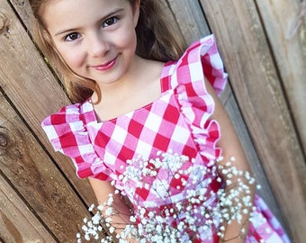 Gingham Ruffle Pinafore Girl's Dress