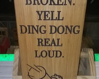 Wooden doorbell broken sign 18x7x3/4 inches approx.  twine rope hanger