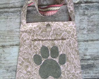 Bucket Bag/tote - pink and brown with paw print on pocket