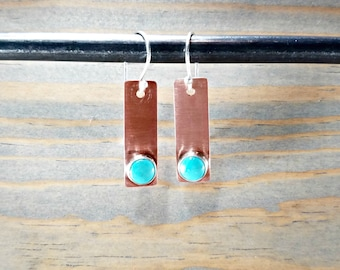 Casual Turquoise Bar Earrings, Modern Minimal Mixed Metal Copper & Turquoise Long Dangle Stick Earrings, Small Copper Boho Jewelry