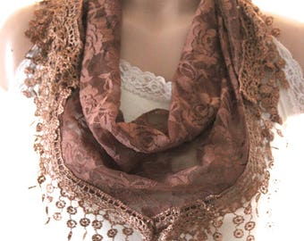 Brown lace scarf-  Summer scarf - woman scarf - scarves - gift scarf  - woman scarf - brown lace shawl - brown scarf - brown shawl