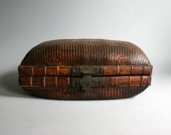 Rare Antique Chinese Asian Bamboo and Rattan Traveling Suitcase Circa 1880's, Handmade