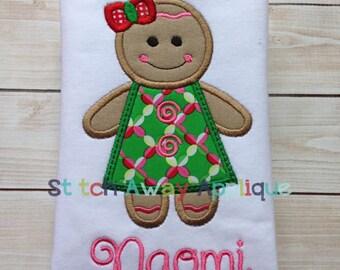 Christmas Gingerbread Girl Machine Applique Design