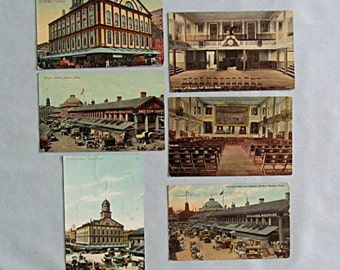 Six Postcards, Boston 1909-1911, Historic Landmarks, Faneuil Hall, Quincy Market, Freedom Trail