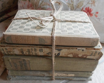 Antique French Book Bundle. Shabby Chic, Faded, Vintage Book Stack of French Classic Literature, including Victor Hugo and Old School Books.