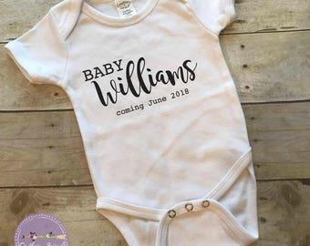 Baby last name Pregnancy announcement bodysuit