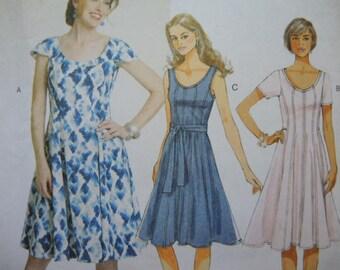 2000s sewing pattern Butterick 5745 misses dress and belt UNCUT size 16-18-20-22-24