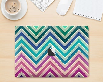 The Vibrant Colored Chevron Layered V4 Skin Kit for the Apple MacBook Air - Pro or Pro with Retina Display (Choose Version)