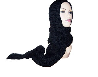Black Hooded Scarf, Chunky