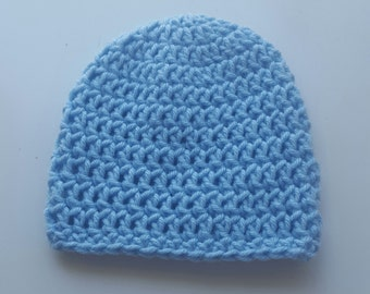 Basic Crochet Light Blue Newborn Hat Photo Prop Girl Boy Baby Infant Toddler Made to Order
