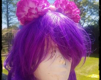 Flower Pompom Floral Crown Festival Headdress Ibiza Head Band Pink