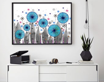 "SALE! Large Flowers, Meadow, Flower Art Print 24""x34"""