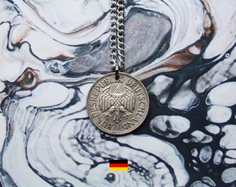 German 2 Deutsche Mark Handmade Silver Coin Necklace - Silver Plated Chain.