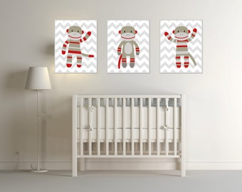 Nursery Monkey Art Print, Nursery Art Print, Sock Monkey Nursery Prints, Baby Boy Nursery Wall Art Print and Bedroom Decor H229