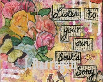 Spiritual wall art, Soul Art, Wall Decor, Mantra Art, inspirational Art Print, Vintage rose, affirmation, Jackie Barragan, Courage & Art
