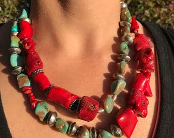 Coral and Turquoise multi-strand necklace