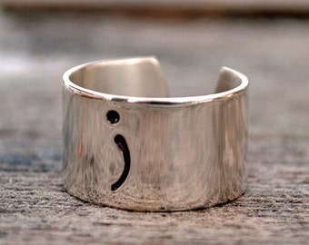 Silver SemiColon Ring. Handmade. Your Story Isn't Over. Suicide Awareness. Suicide Prevention.