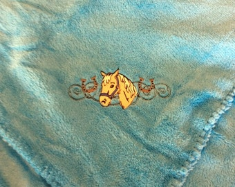 Horse design embroidered throw blanket