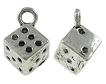 12pc antique silver finish dice pendants-9030