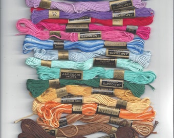 J & P Coats Embroidery Floss or Thread, Deluxe Cotton, Several Colors Available, 6 Strand, 9 Yards Each, Needlework Crafts, Stash