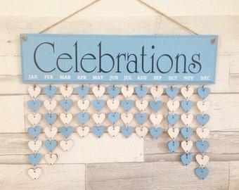 Family celebration board, Birthday diary, Birthday Organizer. Wooden gift, blue birthday board, Calendar, Fab gift. Home decoration.