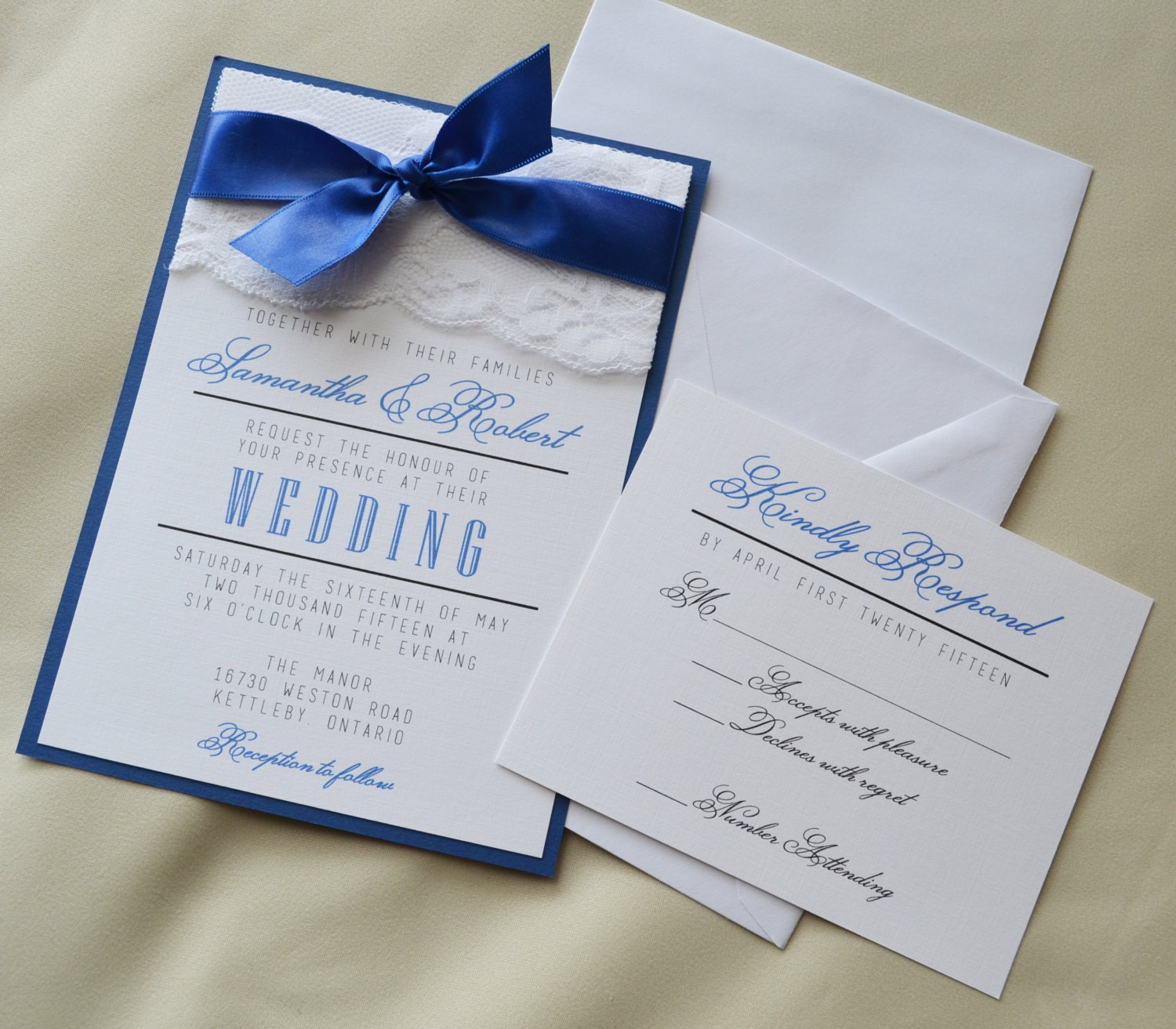 Set Of 20: Royal Blue Wedding Invitation White And Royal Blue