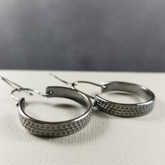 Chunky Sterling Silver Ornate Hoops, Large gothic silver earrings, made in Canada, Rustic Jewelry, Sterling Jewelry