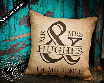 Ampersand, ampersand pillow, wedding date pillow, personalized pillow, wedding gift, burlap pillow, mr and mrs pillow, family name pillow