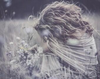 Fine Art - Girl with wild flowers