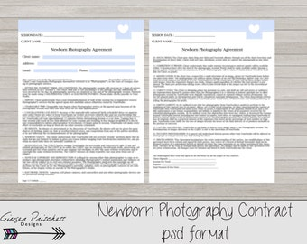 Newborn Photography Contract, Model Release, Newborn Session Contract Template- Instant Download