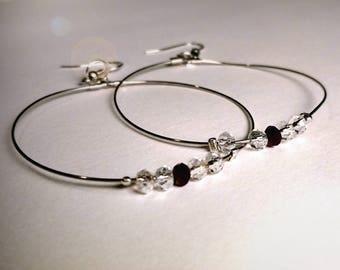 Handmade hoop earrings with crystals