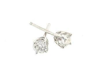 DIAMOND Stud Earrings - Classic Diamond Earring Studs, 1/4 Carat or 1/3 Carat Total Weight  Fine Jewelry Set in 14K White Gold