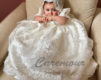 Intricate lace Christening gown set Baptism Gown Handcrafted Heirloom gown set