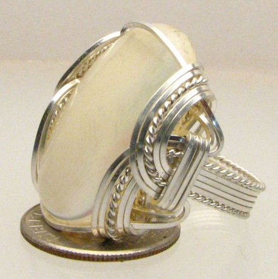 Handmade Wire Wrapped Mother of Pearl Shell Sterling Silver Ring. Custom Personalized Sizing to fit you.