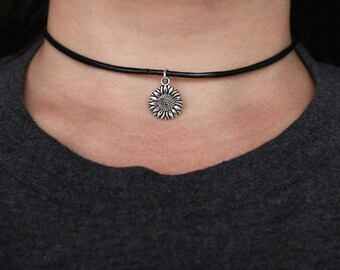 Vegan Leather Sunflower Choker