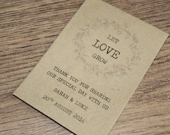 Personalised Seed Packets Envelopes Wedding Favours Vintage Flower Thank You