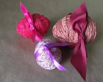 Set of Purple and Pink Thread Wrapped Easter Eggs Hand Made Easter Decoration