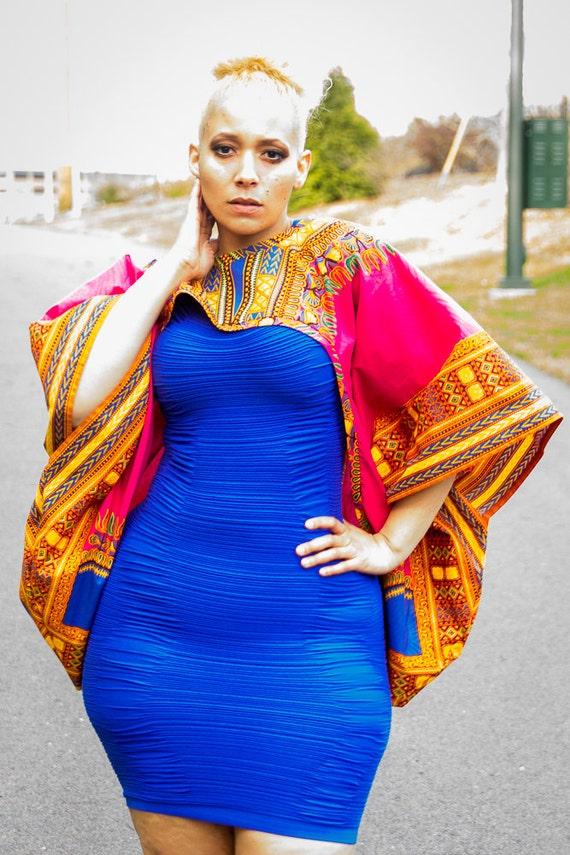 Aqua Dashiki African Print Shrug One Size