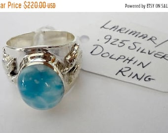 "MOTHERS DAY SALE Stunning Genuine Aaa Grade Larimar Men's/Women's ""Dolphin"" Ring .925 Sterling Silver  Free U.S. Shipping  U.S. Size 12"