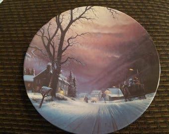 Mountain Sleigh Ride- Collectible Plate-H. T. Becker- Vintage-Snow Night-home decor