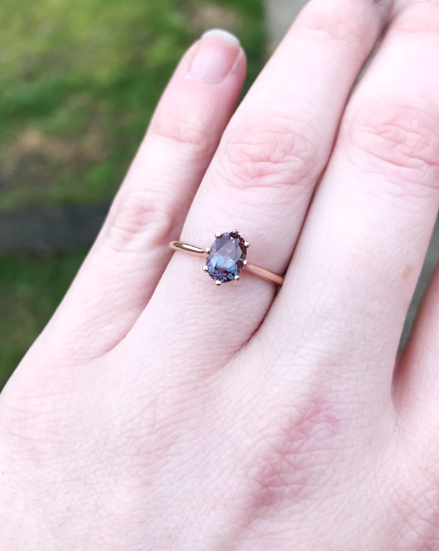 Solitaire oval alexandrite 14k gold engagement ring, alexandrite ...